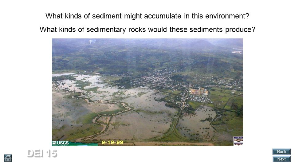 DEI 15 What kinds of sediment might accumulate in this environment