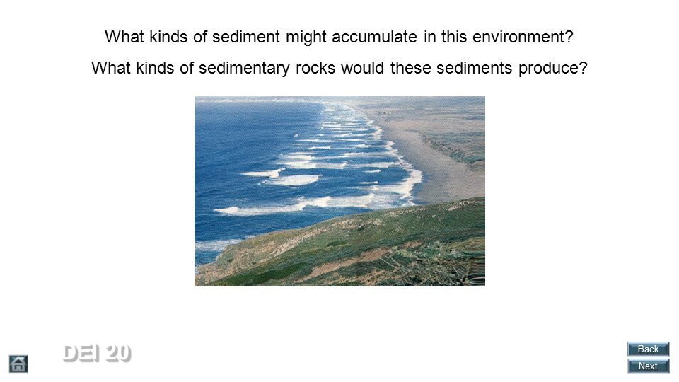 DEI 20 What kinds of sediment might accumulate in this environment