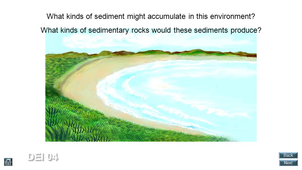 DEI 04 What kinds of sediment might accumulate in this environment