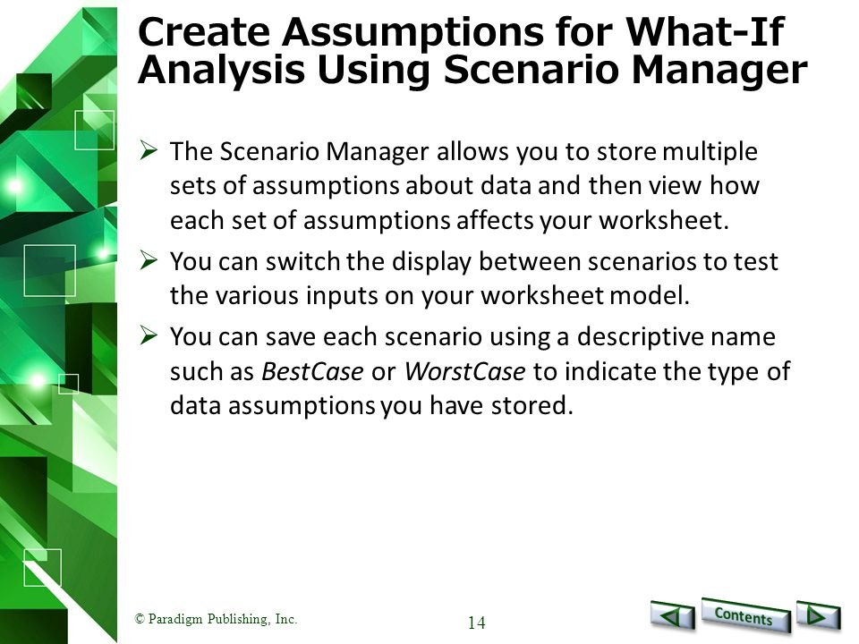 Create Assumptions for What-If Analysis Using Scenario Manager