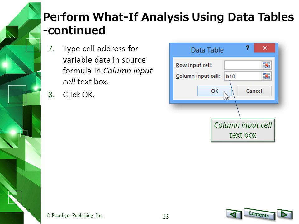 Perform What-If Analysis Using Data Tables -continued