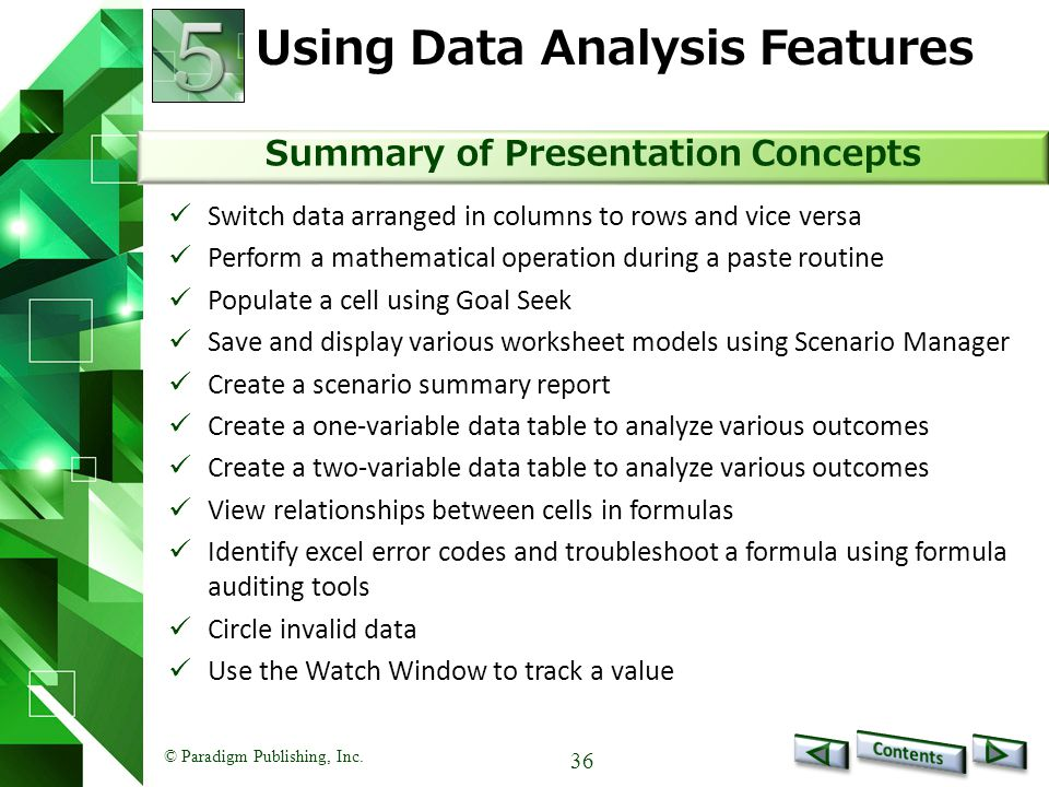 Using Data Analysis Features