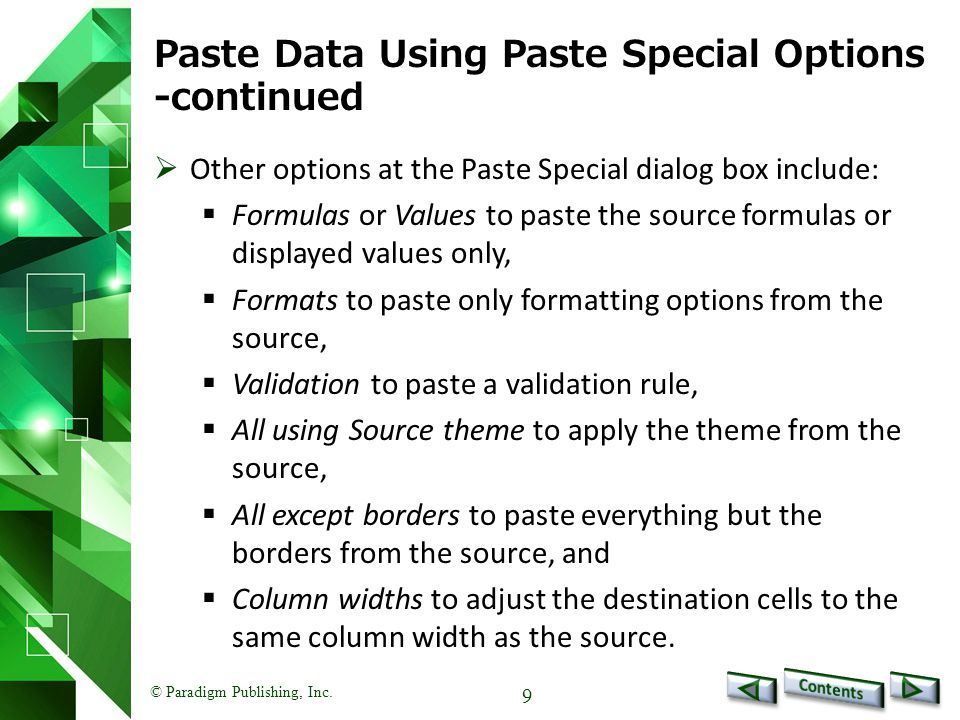 Paste Data Using Paste Special Options -continued