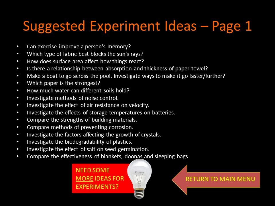 Suggested Experiment Ideas – Page 1
