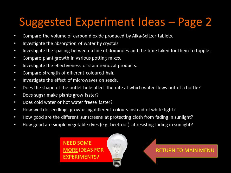 Suggested Experiment Ideas – Page 2