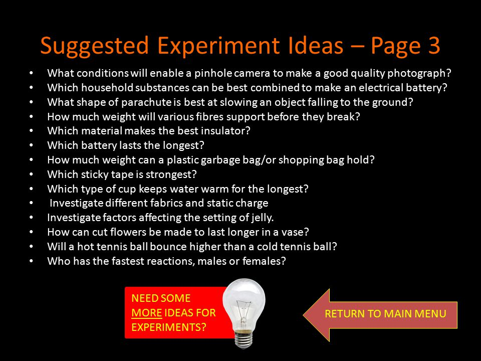 Suggested Experiment Ideas – Page 3