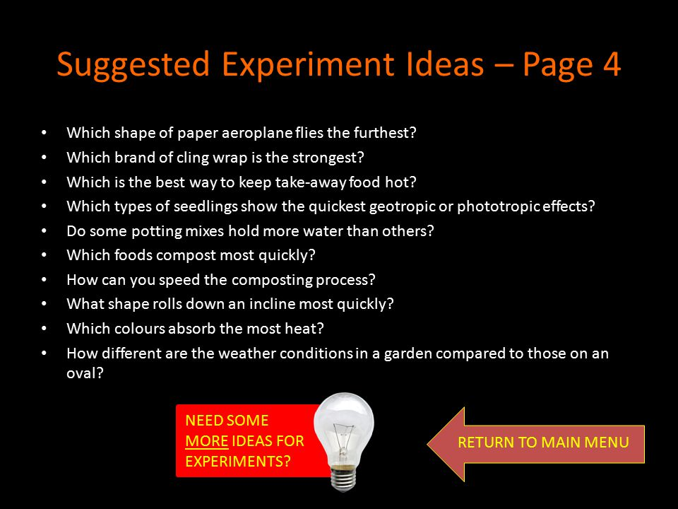 Suggested Experiment Ideas – Page 4