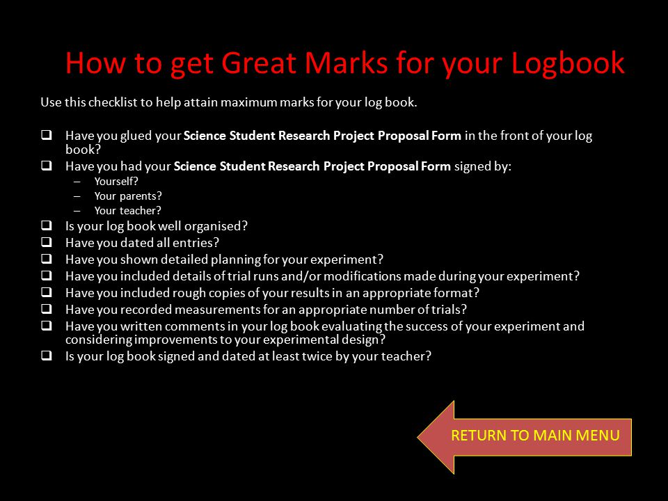 How to get Great Marks for your Logbook