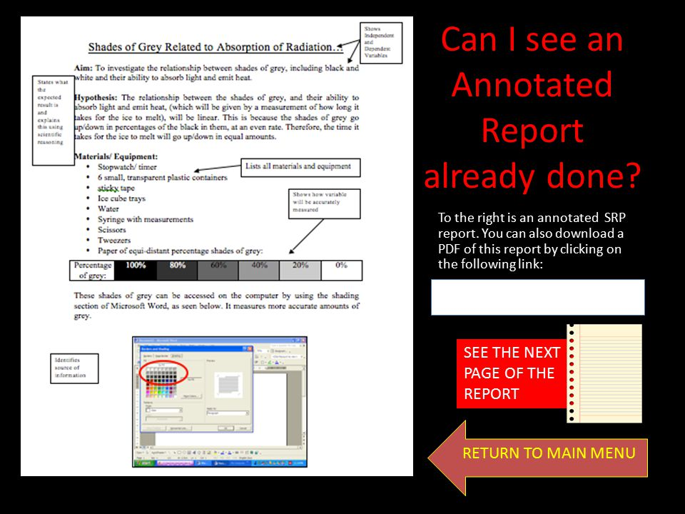 Can I see an Annotated Report already done