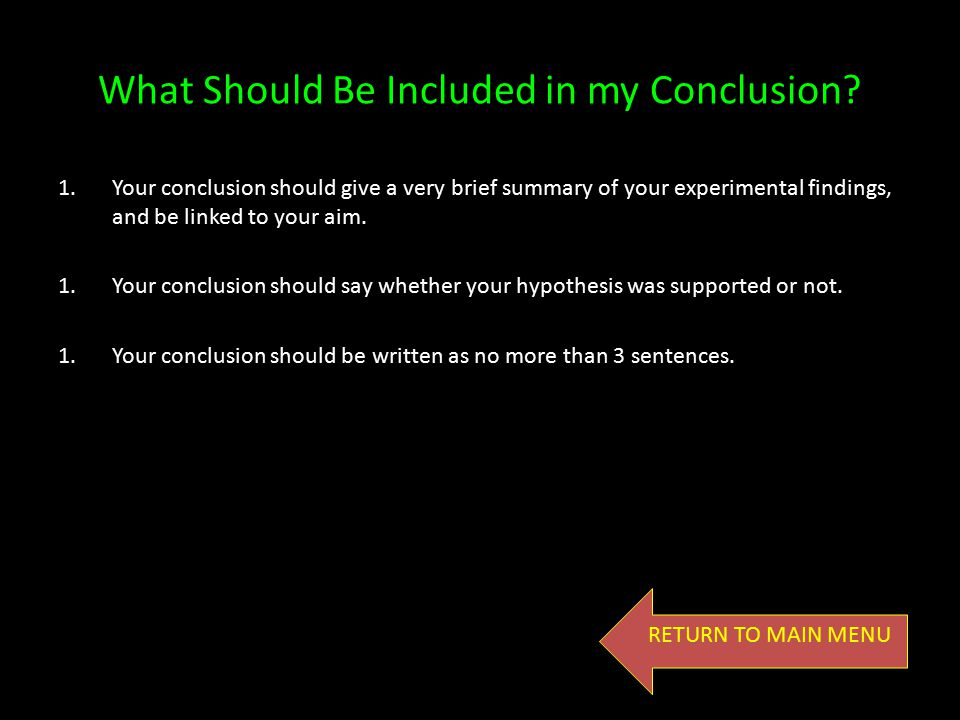 What Should Be Included in my Conclusion