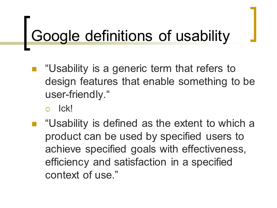 Google definitions of usability