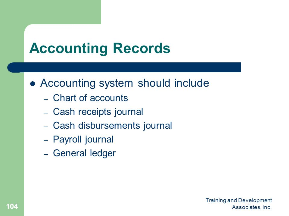 Accounting Records Accounting system should include Chart of accounts