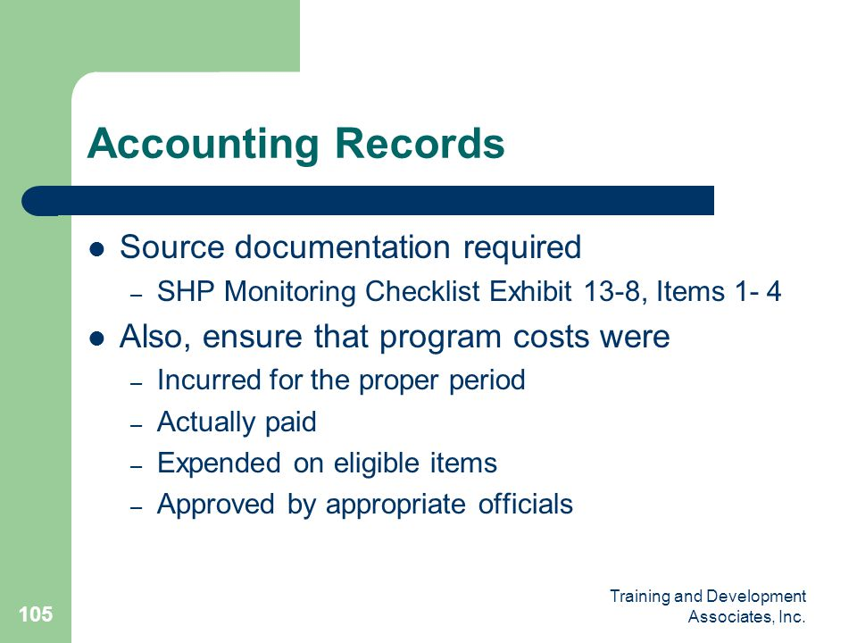 Accounting Records Source documentation required