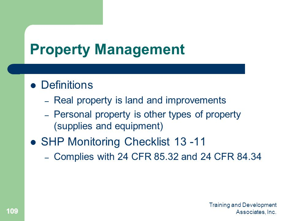 Property Management Definitions SHP Monitoring Checklist