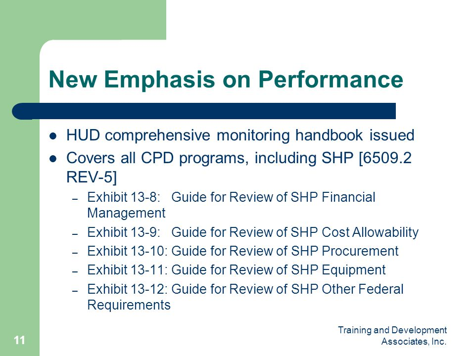 New Emphasis on Performance