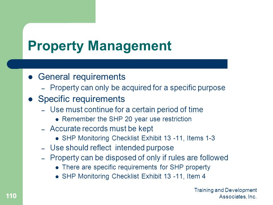 Property Management General requirements Specific requirements