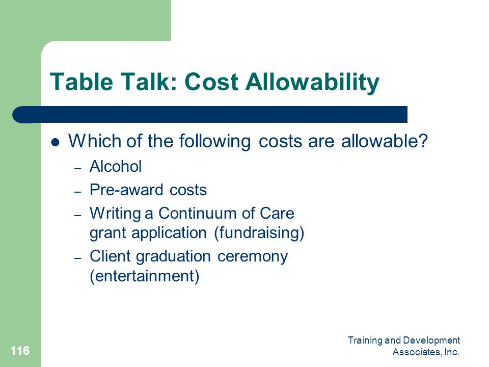 Table Talk: Cost Allowability