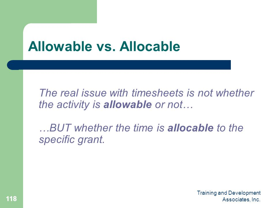 Allowable vs. Allocable