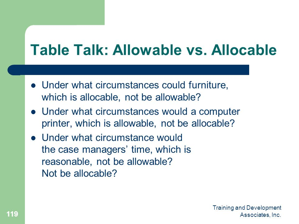 Table Talk: Allowable vs. Allocable