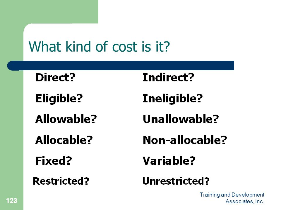 What kind of cost is it Training and Development Associates, Inc.