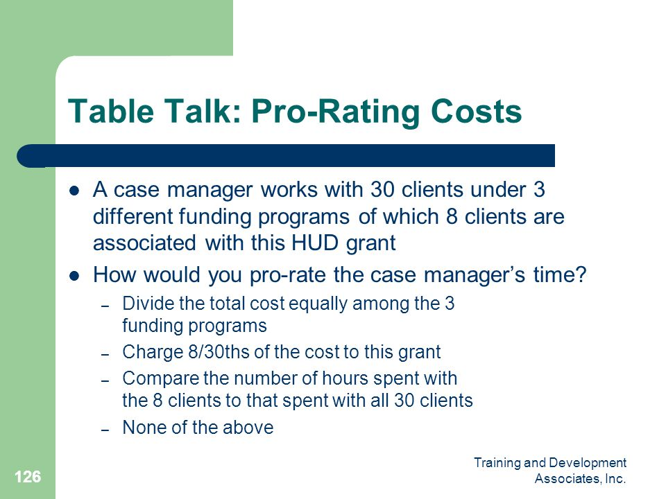 Table Talk: Pro-Rating Costs
