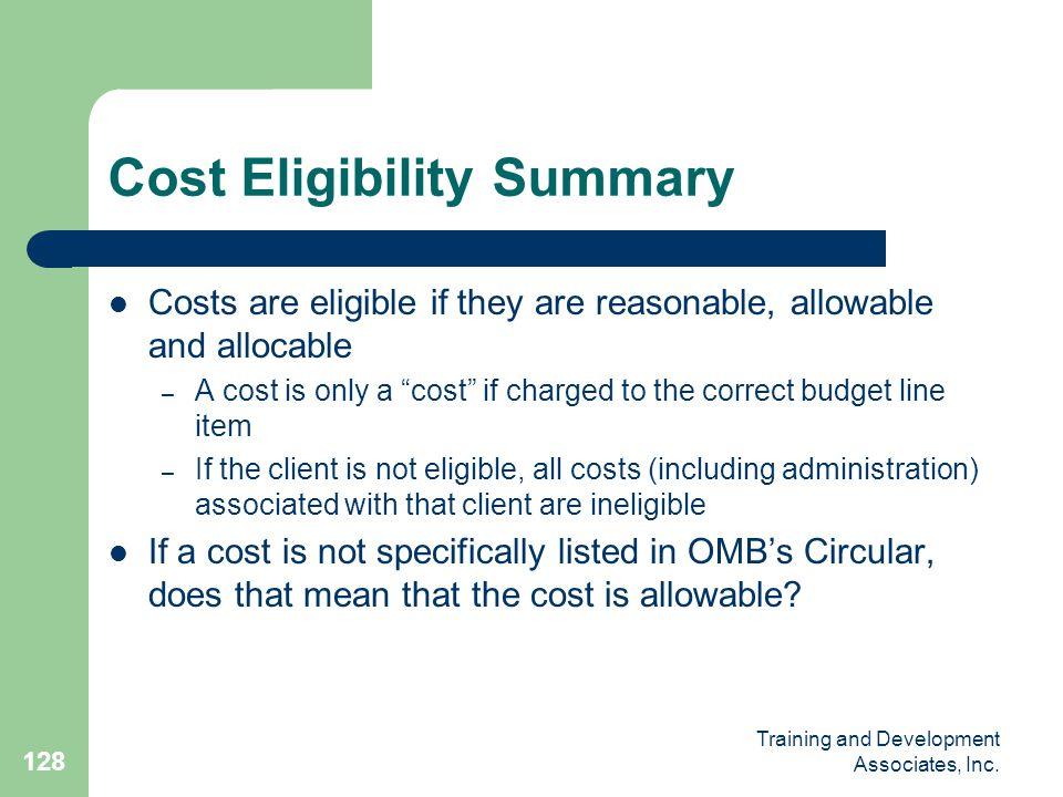 Cost Eligibility Summary