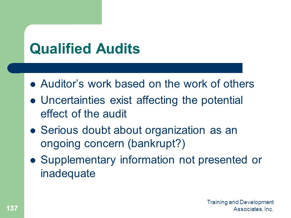 Qualified Audits Auditor's work based on the work of others