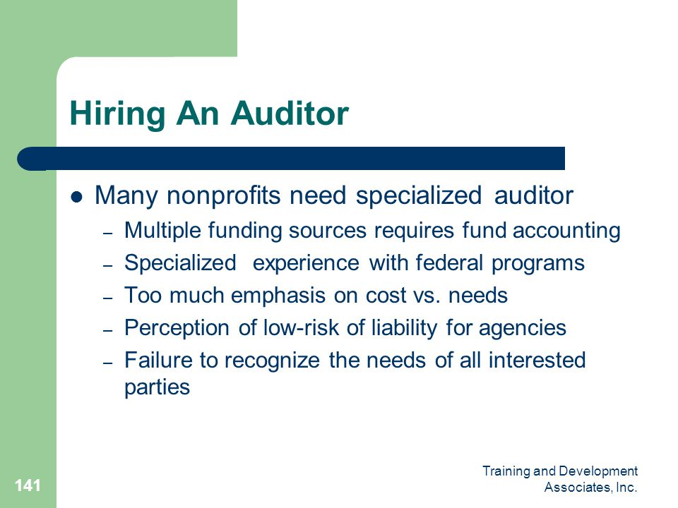 Hiring An Auditor Many nonprofits need specialized auditor