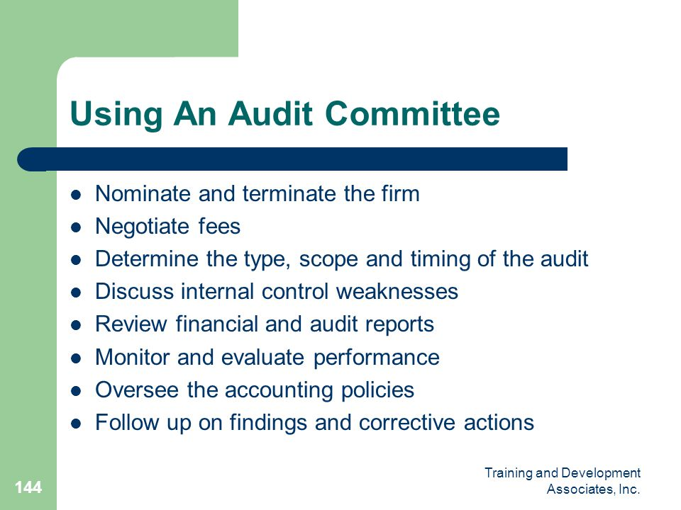 Using An Audit Committee