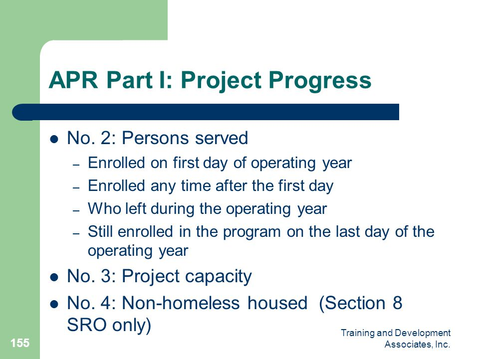 APR Part I: Project Progress