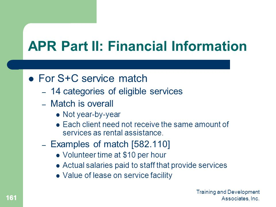 APR Part II: Financial Information