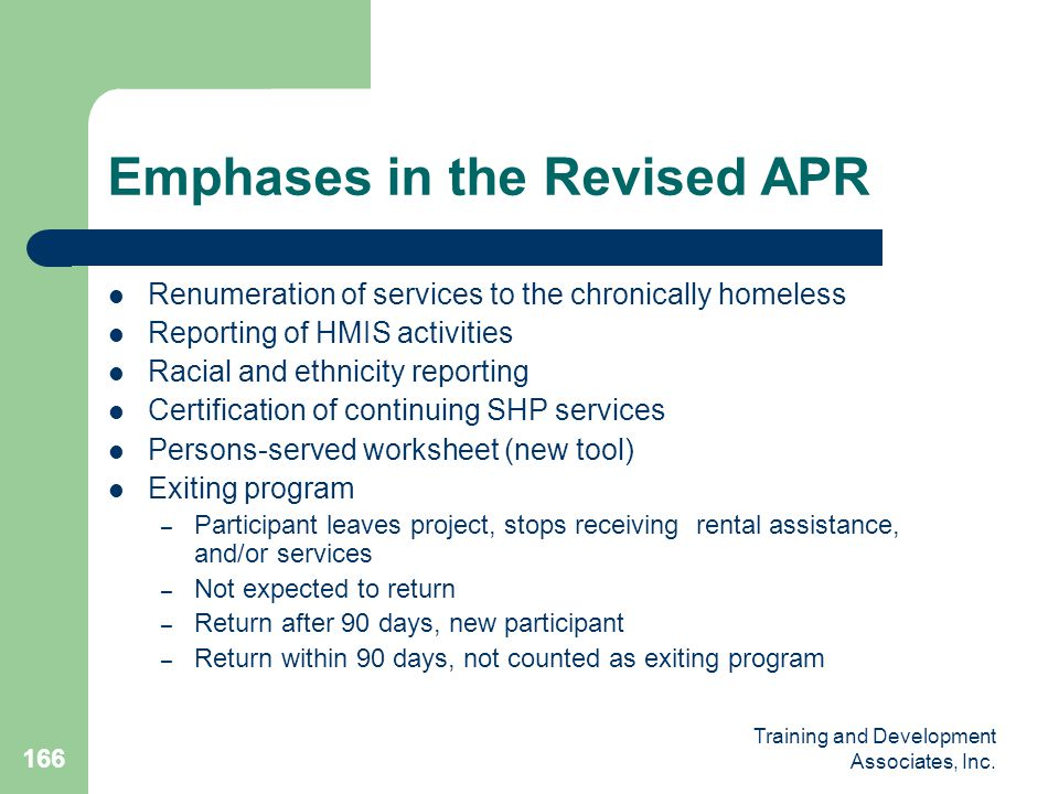 Emphases in the Revised APR