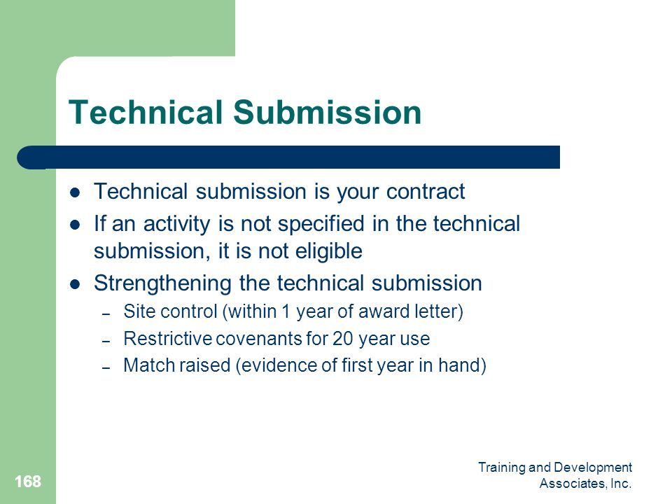 Technical Submission Technical submission is your contract
