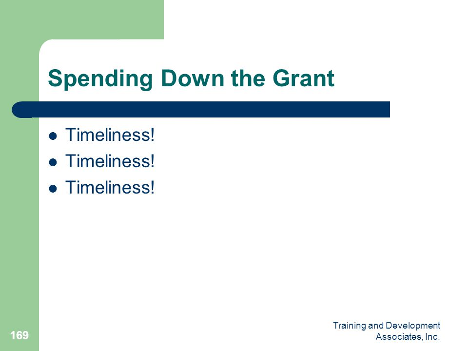 Spending Down the Grant