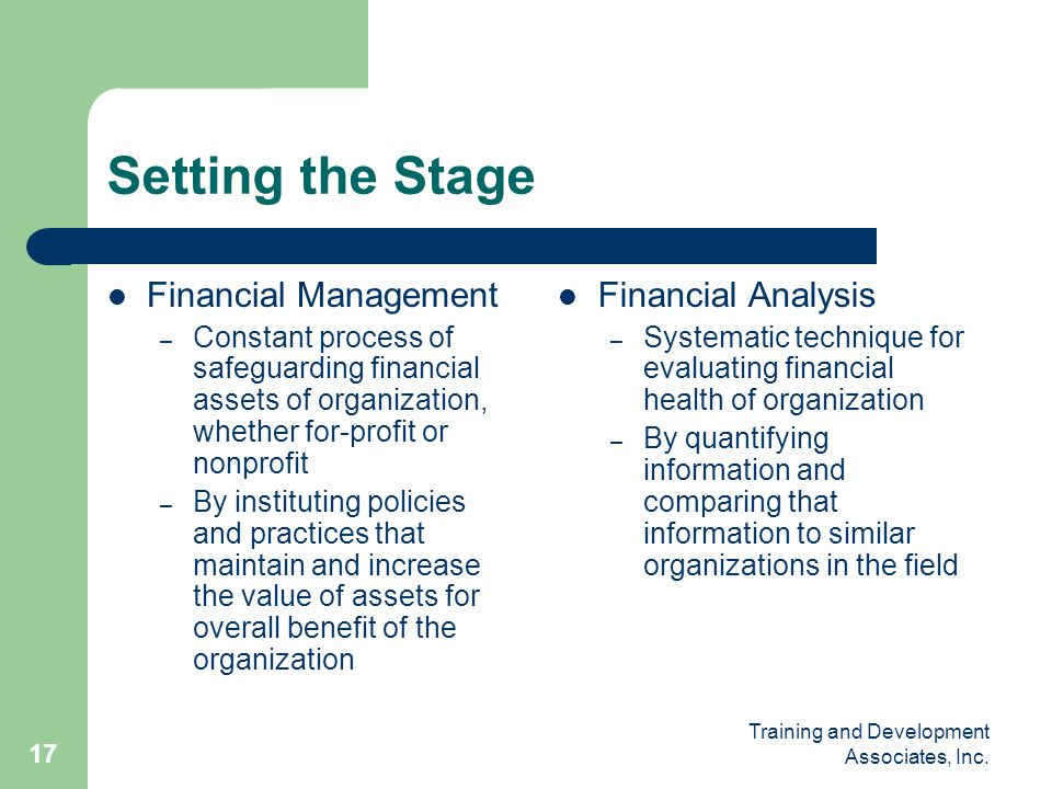 Setting the Stage Financial Management Financial Analysis