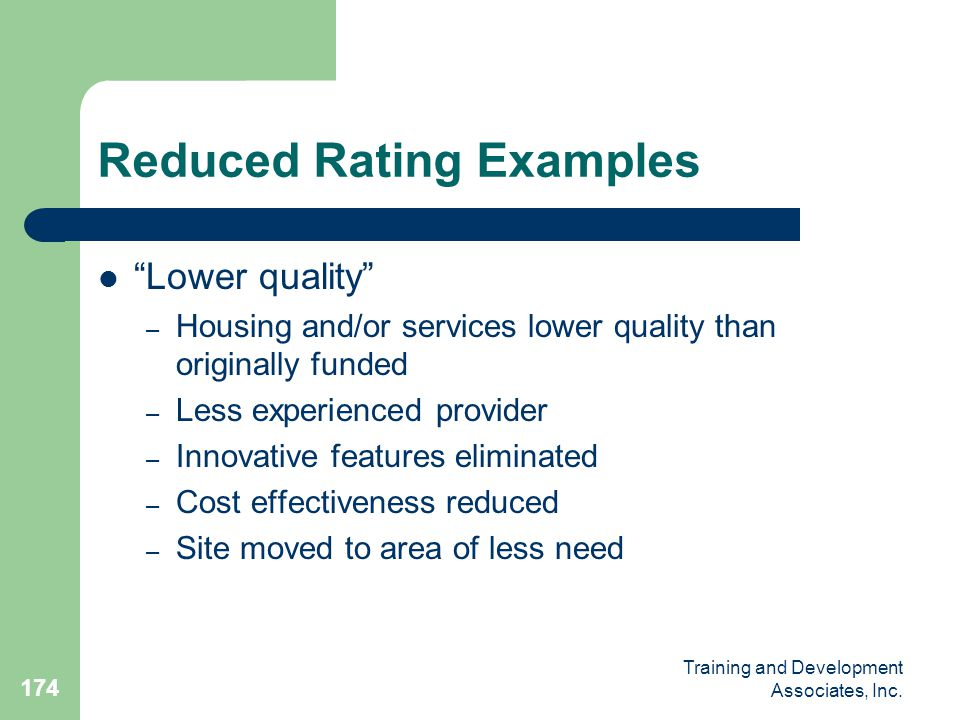 Reduced Rating Examples