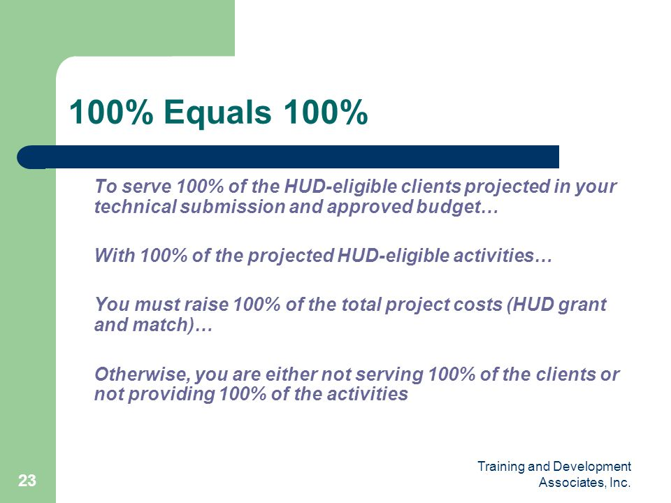 100% Equals 100% To serve 100% of the HUD-eligible clients projected in your technical submission and approved budget…