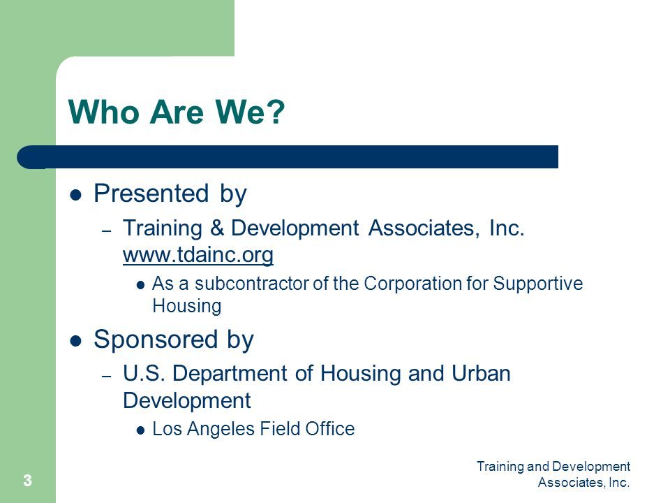 Who Are We Presented by Sponsored by