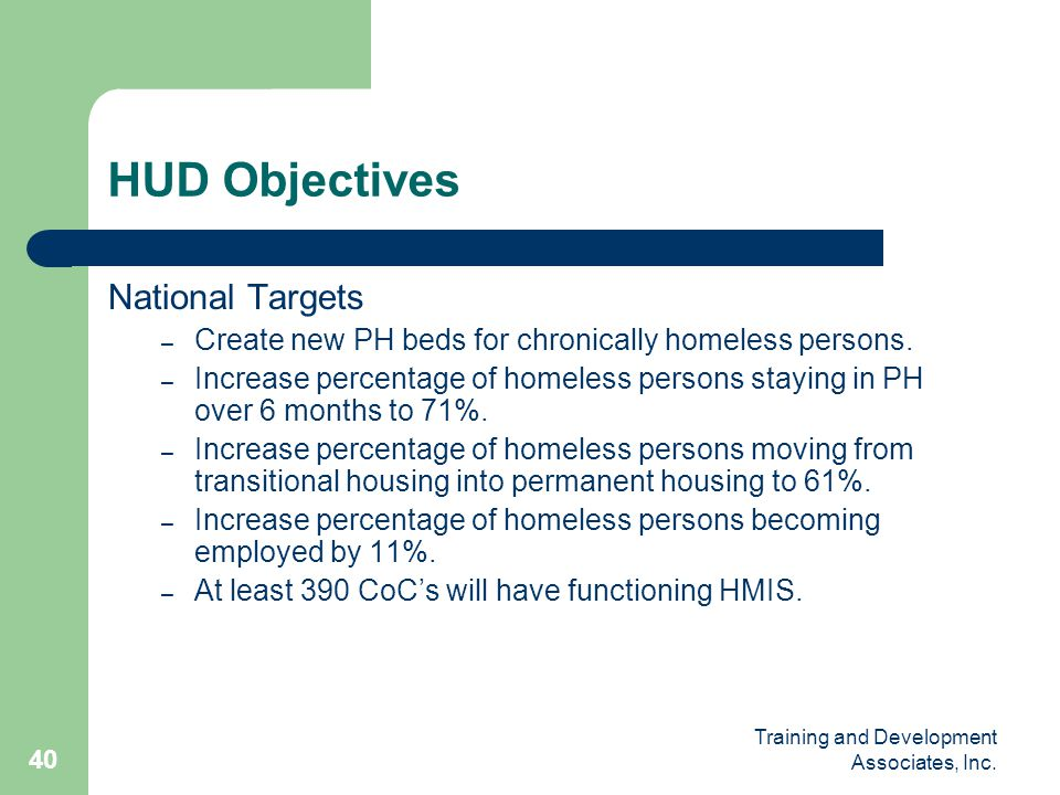 HUD Objectives National Targets