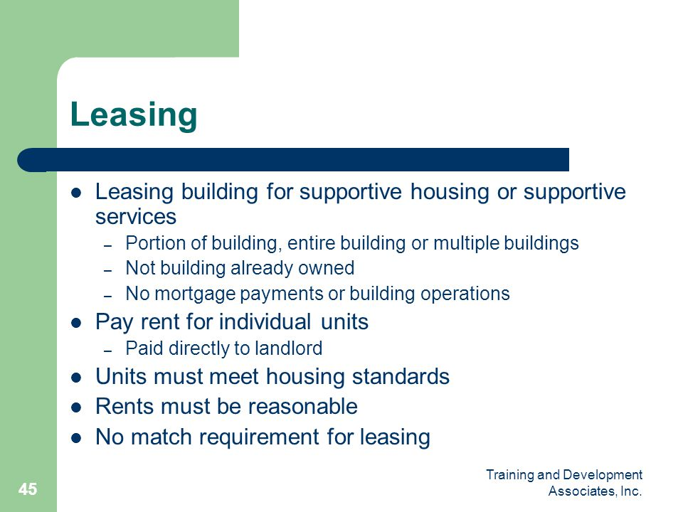 Leasing Leasing building for supportive housing or supportive services
