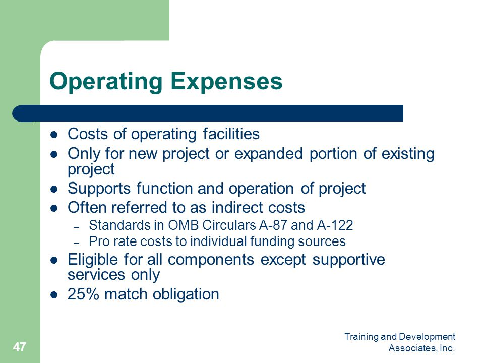 Operating Expenses Costs of operating facilities