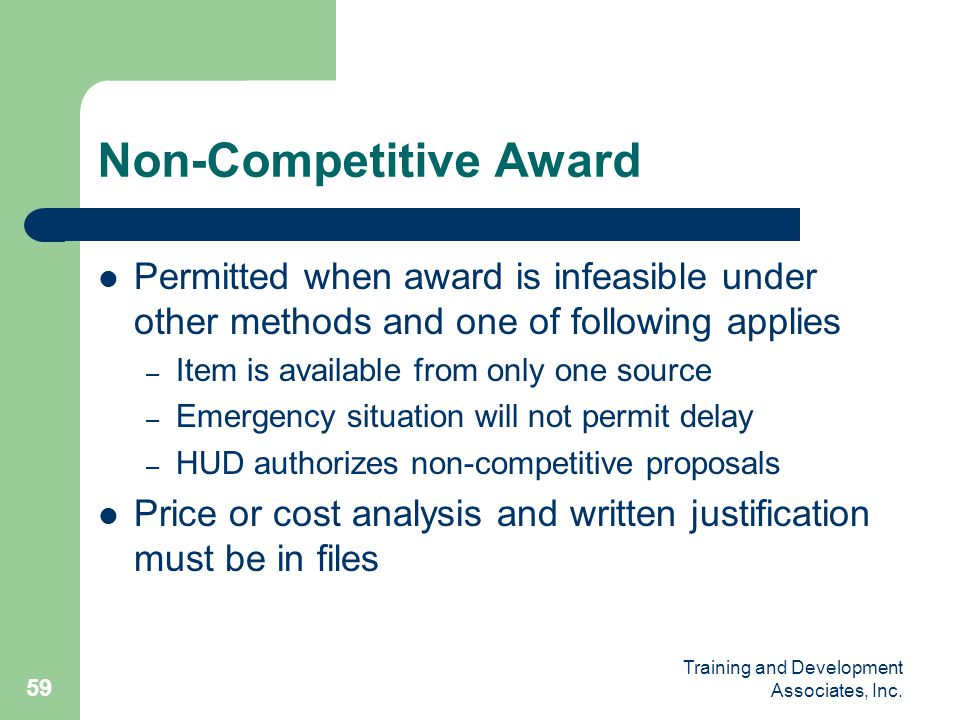 Non-Competitive Award