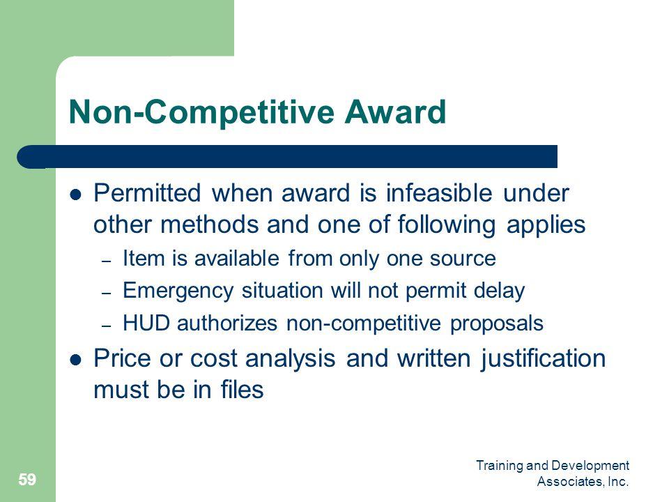 Non-Competitive Award