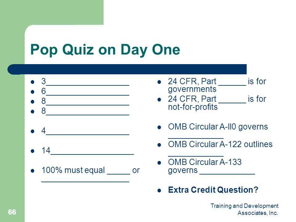 Pop Quiz on Day One 3__________________ 6__________________