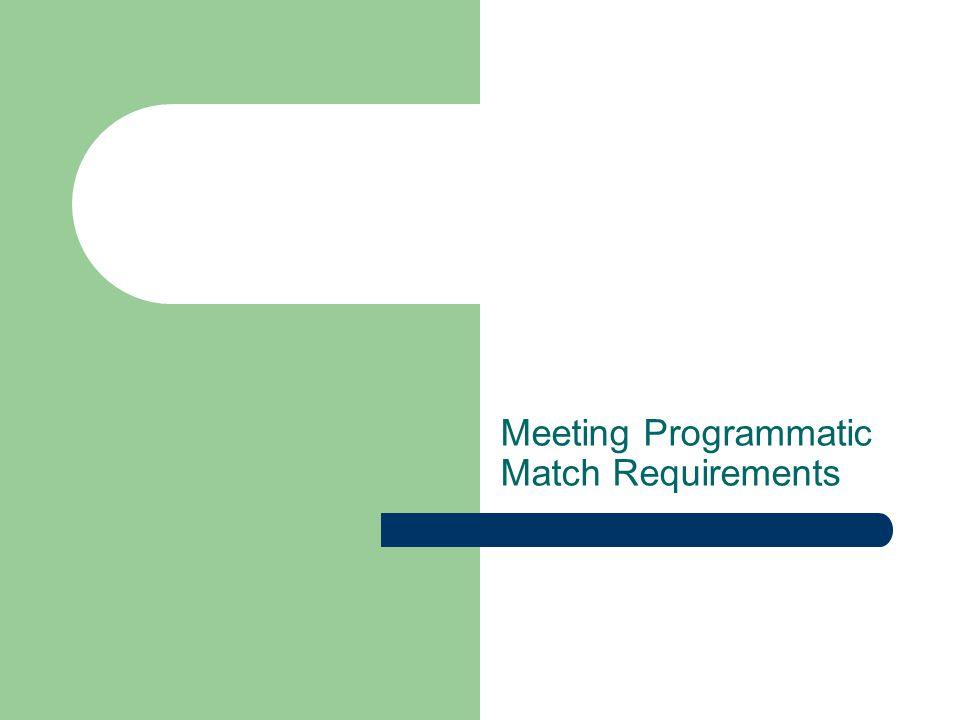 Meeting Programmatic Match Requirements