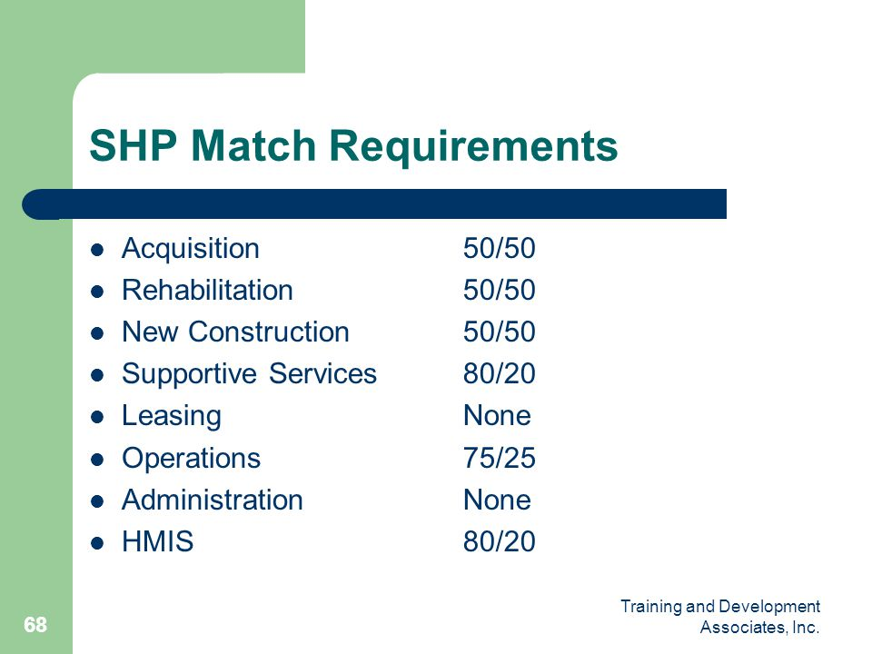 SHP Match Requirements