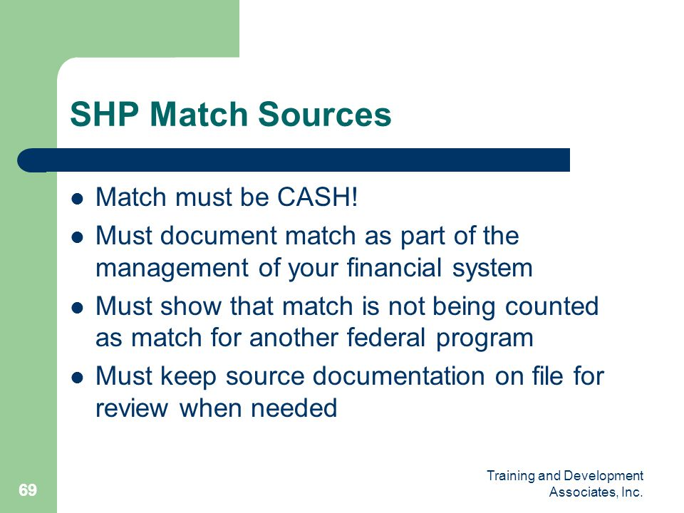 SHP Match Sources Match must be CASH!