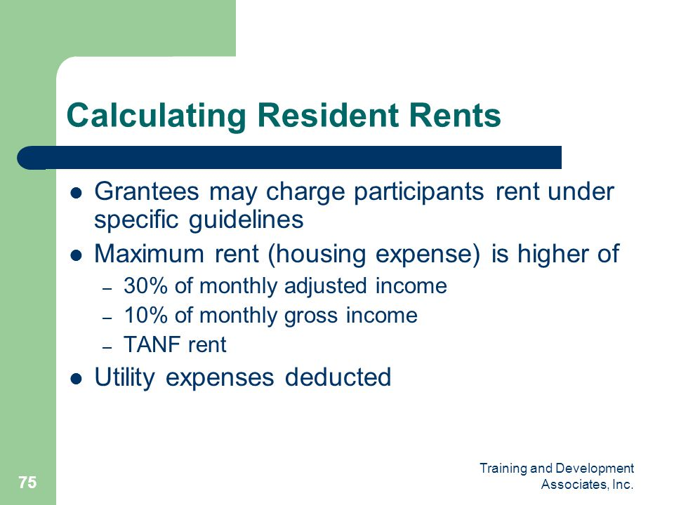 Calculating Resident Rents