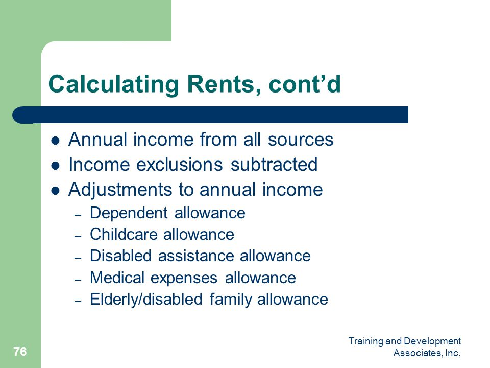 Calculating Rents, cont'd