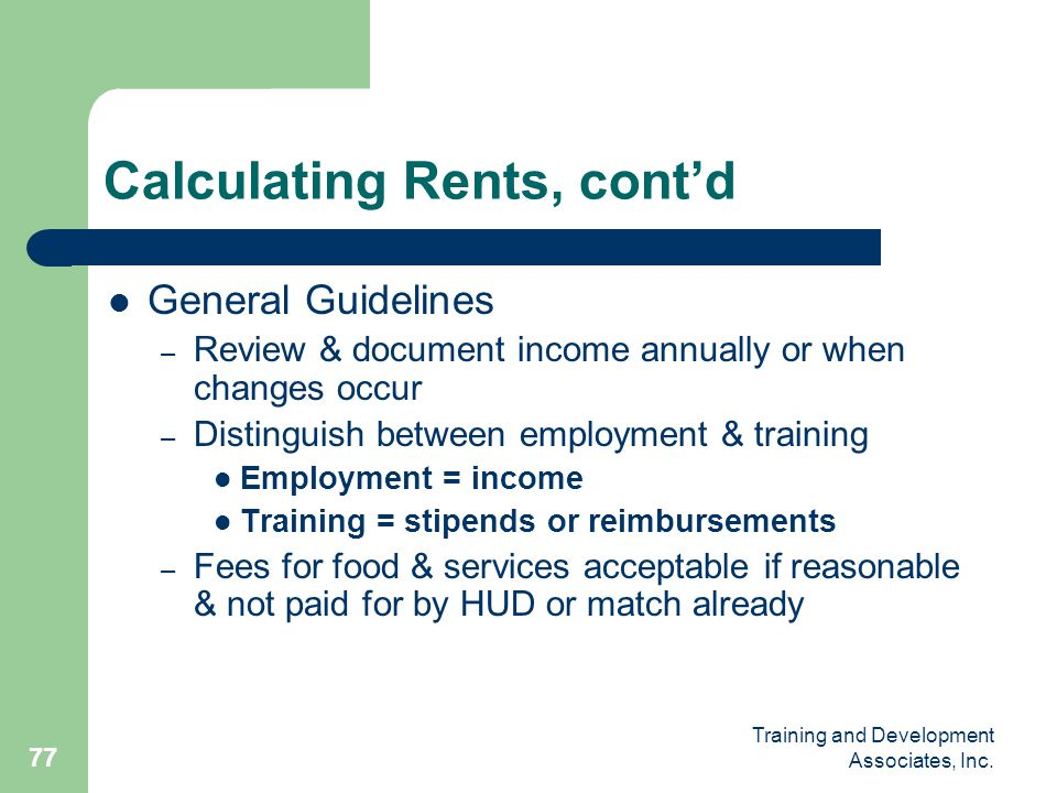 Calculating Rents, cont'd